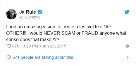 Twitter post by @Ruleyork: I had an amazing vision to create a festival like NO OTHER!!! I would NEVER SCAM or FRAUD anyone what sense does that make???