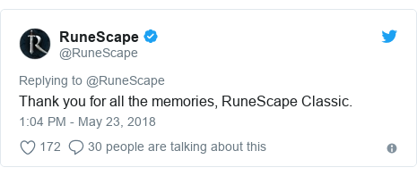 Twitter post by @RuneScape: Thank you for all the memories, RuneScape Classic.