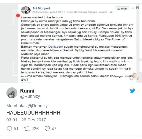 Twitter pesan oleh @Runnizy: HADEEUUUHHHHHHH