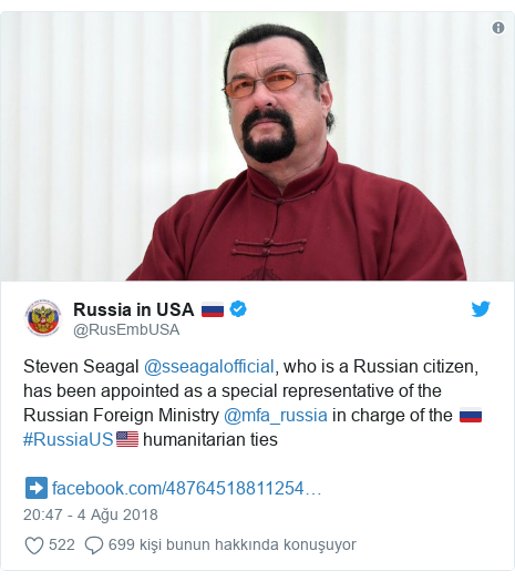 @RusEmbUSA tarafından yapılan Twitter paylaşımı: Steven Seagal @sseagalofficial, who is a Russian citizen, has been appointed as a special representative of the Russian Foreign Ministry @mfa_russia in charge of the 🇷🇺#RussiaUS🇺🇸 humanitarian ties➡️