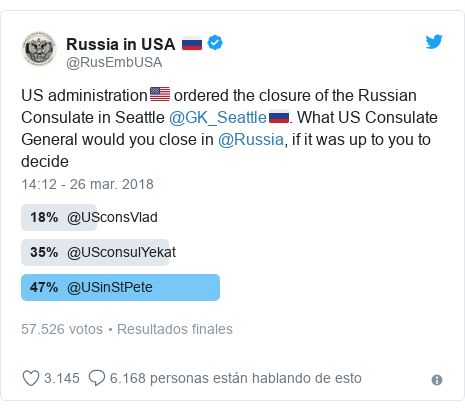 Publicación de Twitter por @RusEmbUSA: US administration🇺🇸 ordered the closure of the Russian Consulate in Seattle @GK_Seattle🇷🇺. What US Consulate General would you close in @Russia, if it was up to you to decide