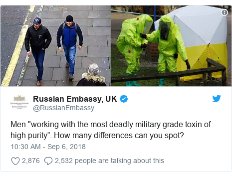 "Twitter post by @RussianEmbassy: Men ""working with the most deadly military grade toxin of high purity"". How many differences can you spot?"