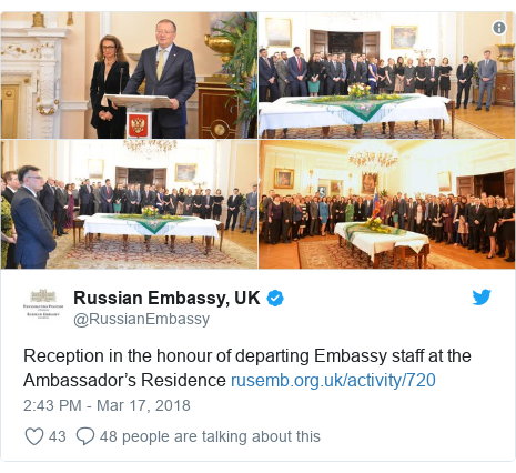Twitter post by @RussianEmbassy: Reception in the honour of departing Embassy staff at the Ambassador's Residence
