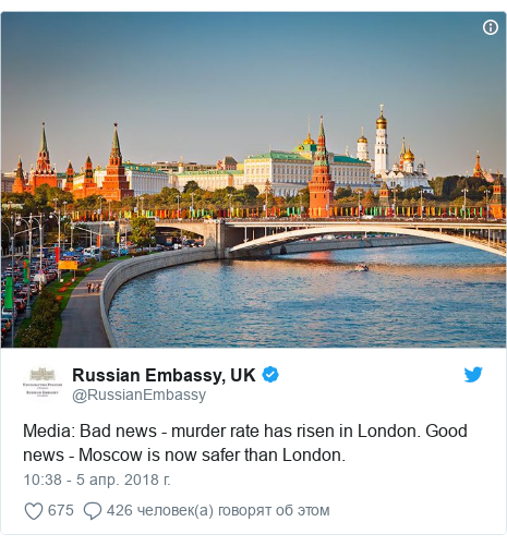 Twitter пост, автор: @RussianEmbassy: Media  Bad news - murder rate has risen in London. Good news - Moscow is now safer than London.