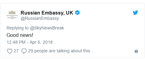 Twitter post by @RussianEmbassy: Good news!