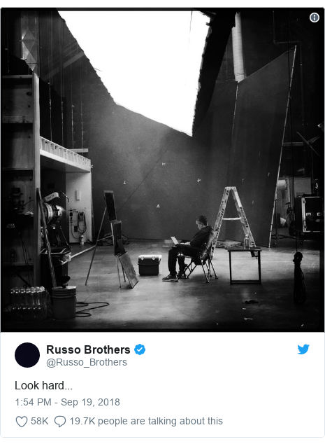 Twitter post by @Russo_Brothers: Look hard...