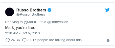Twitter post by @Russo_Brothers: Mark, you're fired.