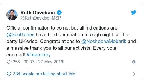 Twitter post by @RuthDavidsonMSP: Official confirmation to come, but all indications are @ScotTories have held our seat on a tough night for the party UK-wide. Congratulations to @NosheenaMobarik and a massive thank you to all our activists. Every vote counted! #TeamTory