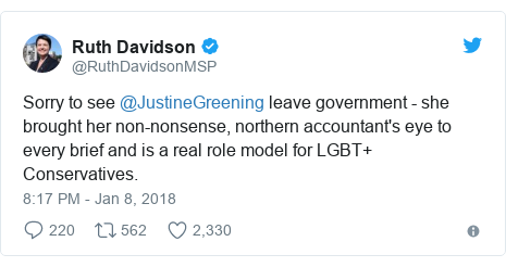 Twitter post by @RuthDavidsonMSP: Sorry to see @JustineGreening leave government - she brought her non-nonsense, northern accountant's eye to every brief and is a real role model for LGBT+ Conservatives.
