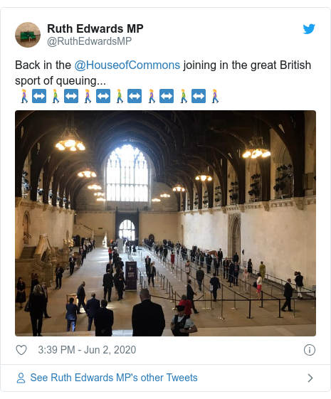 Twitter post by @RuthEdwardsMP: Back in the @HouseofCommons joining in the great British sport of queuing... 🚶‍♀️↔️🚶‍♂️↔️🚶‍♀️↔️🚶‍♂️↔️🚶‍♀️↔️🚶‍♂️↔️🚶‍♀️