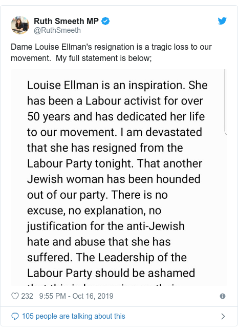 Twitter post by @RuthSmeeth: Dame Louise Ellman's resignation is a tragic loss to our movement.  My full statement is below;