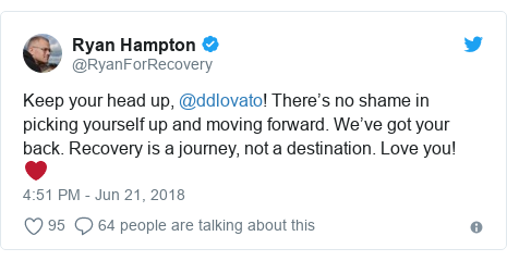 Twitter post by @RyanForRecovery: Keep your head up, @ddlovato! There's no shame in picking yourself up and moving forward. We've got your back. Recovery is a journey, not a destination. Love you! ❤️