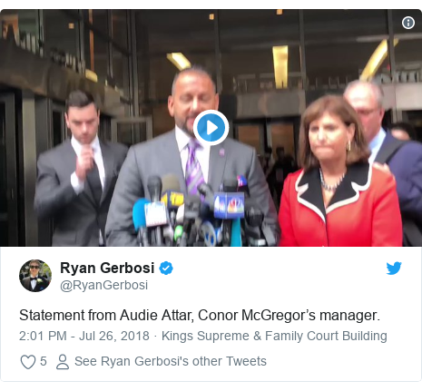 Twitter post by @RyanGerbosi: Statement from Audie Attar, Conor McGregor's manager.