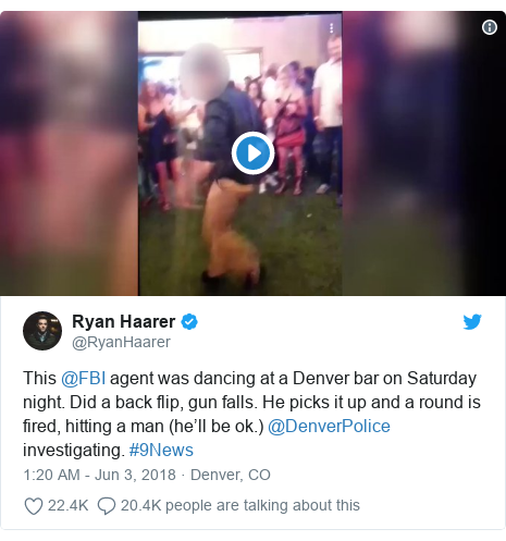 Twitter post by @RyanHaarer: This @FBI agent was dancing at a Denver bar on Saturday night. Did a back flip, gun falls. He picks it up and a round is fired, hitting a man (he'll be ok.) @DenverPolice investigating. #9News