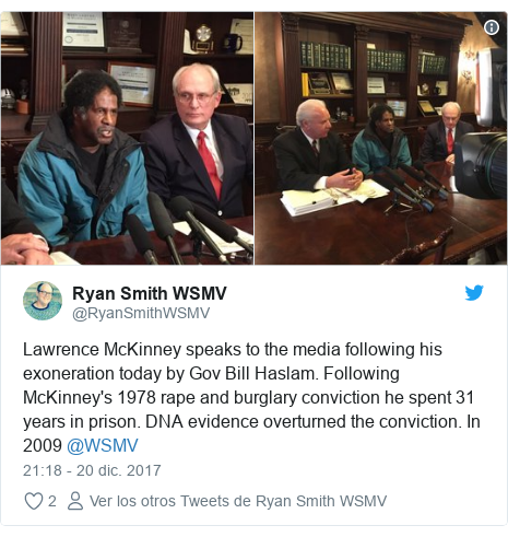 Publicación de Twitter por @RyanSmithWSMV: Lawrence McKinney speaks to the media following his exoneration today by Gov Bill Haslam. Following McKinney's 1978 rape and burglary conviction he spent 31 years in prison. DNA evidence overturned the conviction. In 2009 @WSMV