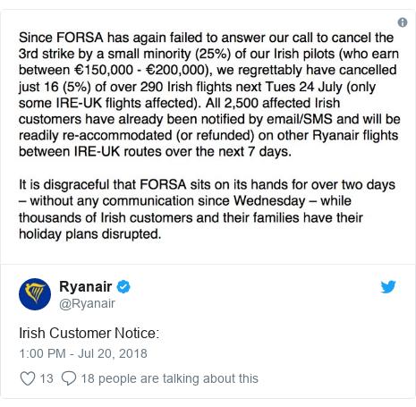 Twitter post by @Ryanair: Irish Customer Notice