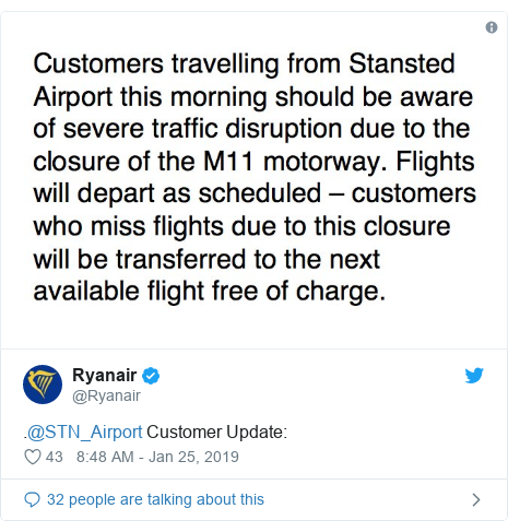 Twitter post by @Ryanair: .@STN_Airport Customer Update