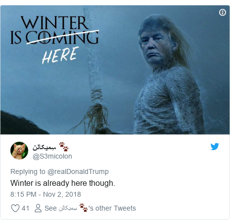 Twitter post by @S3micolon: Winter is already here though.
