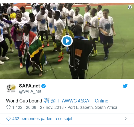 Twitter publication par @SAFA_net: World Cup bound ✈️ @FIFAWWC @CAF_Online