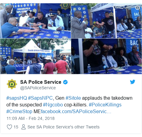 Twitter post by @SAPoliceService: #sapsHQ #SapsNPC, Gen #Sitole applauds the takedown of the suspected #Ngcobo cop-killers. #PoliceKillings #CrimeStop ME