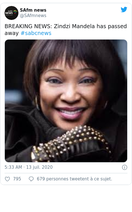 Twitter publication par @SAfmnews: BREAKING NEWS  Zindzi Mandela has passed away #sabcnews