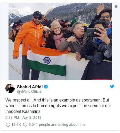 Twitter post by @SAfridiOfficial: We respect all. And this is an example as sportsman. But when it comes to human rights we expect the same for our innocent Kashmiris.