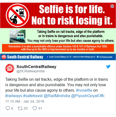 Twitter post by @SCRailwayIndia: Taking Selfie on rail tracks, edge of the platform or in trains is dangerous and also punishable. You may not only lose your life but also cause agony to others. #noselfie on #railways #safetravel @RailMinIndia @PiyushGoyalOffc