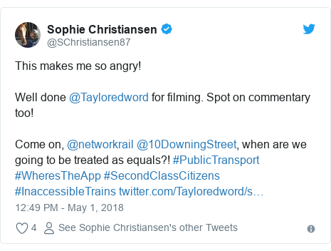Twitter post by @SChristiansen87: This makes me so angry!Well done @Tayloredword for filming. Spot on commentary too!Come on, @networkrail @10DowningStreet, when are we going to be treated as equals?! #PublicTransport #WheresTheApp #SecondClassCitizens #InaccessibleTrains