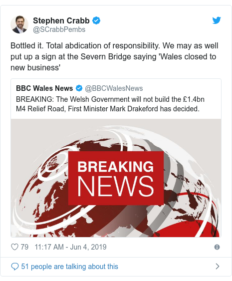 Twitter post by @SCrabbPembs: Bottled it. Total abdication of responsibility. We may as well put up a sign at the Severn Bridge saying 'Wales closed to new business'