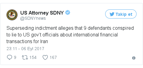 @SDNYnews tarafından yapılan Twitter paylaşımı: Superseding indictment alleges that 9 defendants conspired to lie to US gov't officials about international financial transactions for Iran