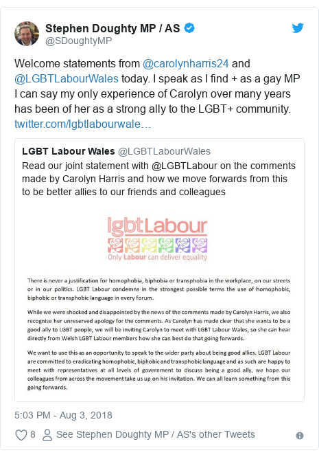 Twitter post by @SDoughtyMP: Welcome statements from @carolynharris24 and @LGBTLabourWales today. I speak as I find + as a gay MP I can say my only experience of Carolyn over many years has been of her as a strong ally to the LGBT+ community.