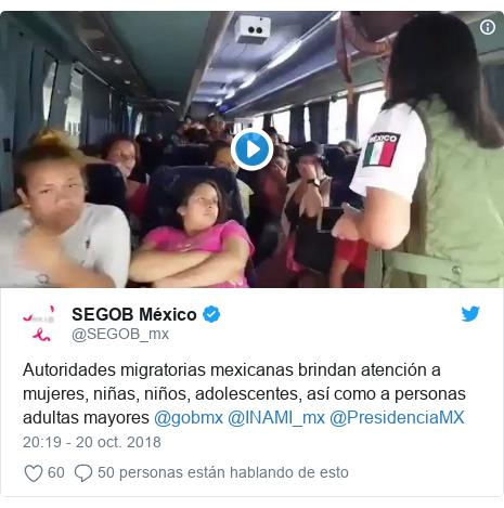 Publicación de Twitter por @SEGOB_mx: Autoridades migratorias mexicanas brindan atención a mujeres, niñas, niños, adolescentes, así como a personas adultas mayores @gobmx @INAMI_mx @PresidenciaMX
