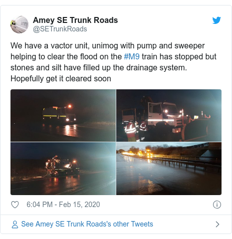 Twitter post by @SETrunkRoads: We have a vactor unit, unimog with pump and sweeper helping to clear the flood on the #M9 train has stopped but stones and silt have filled up the drainage system. Hopefully get it cleared soon