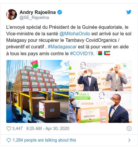 Twitter post by @SE_Rajoelina: L'envoyé spécial du Président de la Guinée équatoriale, le Vice-ministre de la santé @MitohaOndo est arrivé sur le sol Malagasy pour récupérer le Tambavy CovidOrganics / préventif et curatif . #Madagascar est là pour venir en aide à tous les pays amis contre le #COVID19. 🇲🇬 🇬🇶