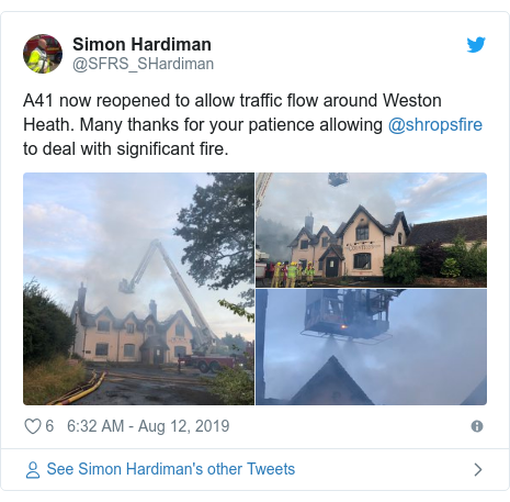 Twitter post by @SFRS_SHardiman: A41 now reopened to allow traffic flow around Weston Heath. Many thanks for your patience allowing @shropsfire to deal with significant fire.