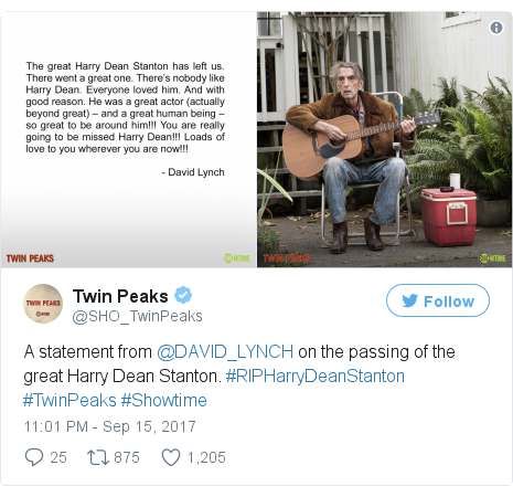Twitter post by @SHO_TwinPeaks: A statement from @DAVID_LYNCH on the passing of the great Harry Dean Stanton. #RIPHarryDeanStanton #TwinPeaks #Showtime pic.twitter.com/EmsO1zotsk