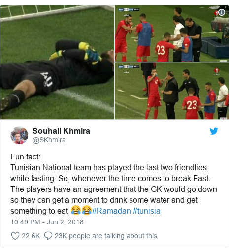 Twitter post by @SKhmira: Fun fact Tunisian National team has played the last two friendlies while fasting. So, whenever the time comes to break Fast. The players have an agreement that the GK would go down so they can get a moment to drink some water and get something to eat 😂😂#Ramadan #tunisia