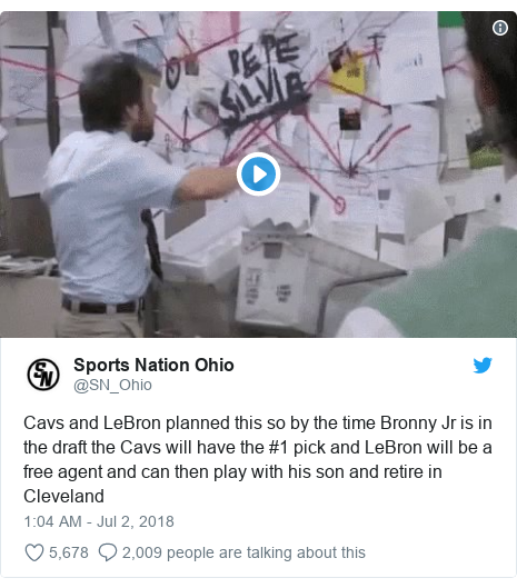 Twitter post by @SN_Ohio: Cavs and LeBron planned this so by the time Bronny Jr is in the draft the Cavs will have the #1 pick and LeBron will be a free agent and can then play with his son and retire in Cleveland