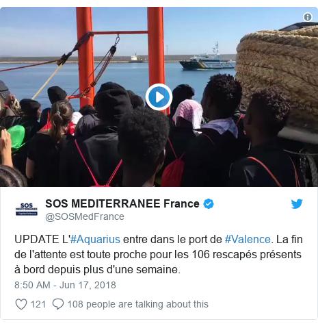Twitter post by @SOSMedFrance: UPDATE L'#Aquarius entre dans le port de #Valence. La fin de l'attente est toute proche pour les 106 rescapés présents à bord depuis plus d'une semaine.