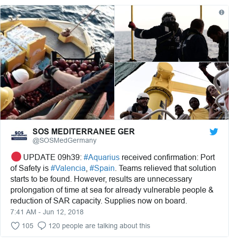 Twitter post by @SOSMedGermany: 🔴 UPDATE 09h39  #Aquarius received confirmation  Port of Safety is #Valencia, #Spain. Teams relieved that solution starts to be found. However, results are unnecessary prolongation of time at sea for already vulnerable people & reduction of SAR capacity. Supplies now on board.