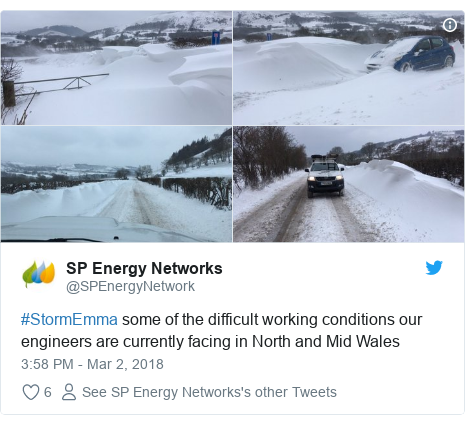 Twitter post by @SPEnergyNetwork: #StormEmma some of the difficult working conditions our engineers are currently facing in North and Mid Wales