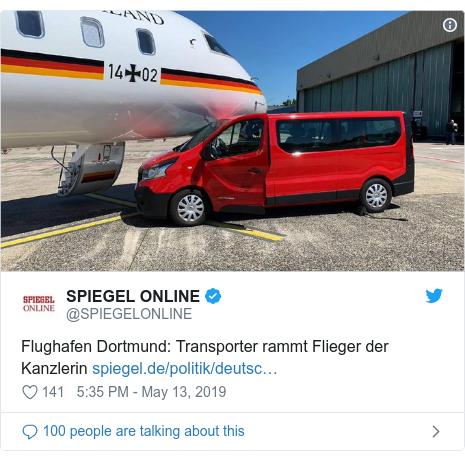 Twitter post by @SPIEGELONLINE: Flughafen Dortmund  Transporter rammt Flieger der Kanzlerin