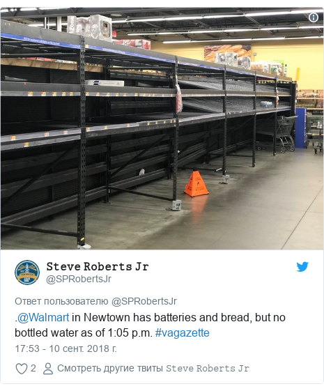 Twitter пост, автор: @SPRobertsJr: .@Walmart in Newtown has batteries and bread, but no bottled water as of 1 05 p.m. #vagazette