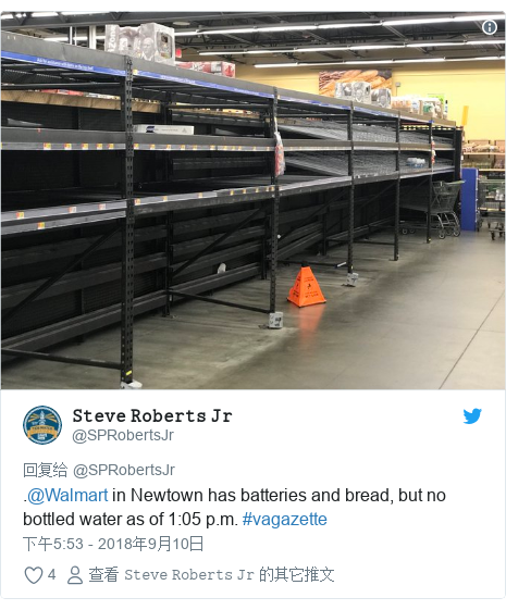 Twitter 用户名 @SPRobertsJr: .@Walmart in Newtown has batteries and bread, but no bottled water as of 1 05 p.m. #vagazette