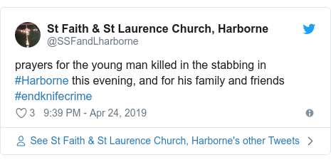 Twitter post by @SSFandLharborne: prayers for the young man killed in the stabbing in #Harborne this evening, and for his family and friends #endknifecrime