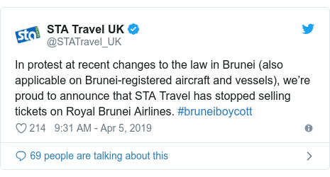 Twitter post by @STATravel_UK: In protest at recent changes to the law in Brunei (also applicable on Brunei-registered aircraft and vessels), we're proud to announce that STA Travel has stopped selling tickets on Royal Brunei Airlines. #bruneiboycott