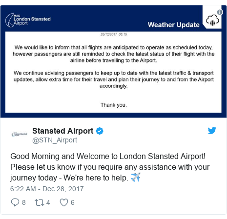 Twitter post by @STN_Airport: Good Morning and Welcome to London Stansted Airport! Please let us know if you require any assistance with your journey today - We're here to help. ✈