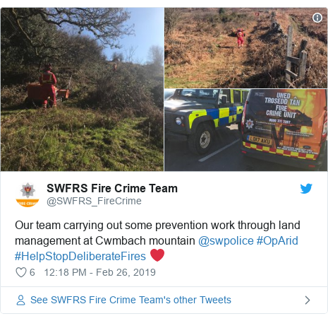 Twitter post by @SWFRS_FireCrime: Our team carrying out some prevention work through land management at Cwmbach mountain @swpolice #OpArid #HelpStopDeliberateFires ❤️