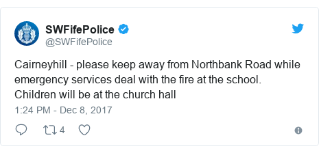 Twitter post by @SWFifePolice: Cairneyhill - please keep away from Northbank Road while emergency services deal with the fire at the school. Children will be at the church hall