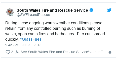 Twitter post by @SWFireandRescue: During these ongoing warm weather conditions please refrain from any controlled burning such as burning of waste, open camp fires and barbecues.  Fire can spread quickly. #GrassFires